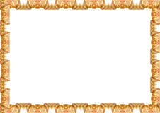 White Landscape Frame with Decorated Borders. White frame background with decorated orange design borders Royalty Free Stock Photography