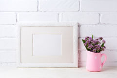 White landscape frame mockup with purple flowers in pink rustic stock photos