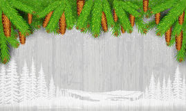 White landscape silhouette on vintage gray wood background and fir tree branch and cones Stock Photo