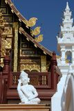 White Lanna style Thai sleeping guardian statue royalty free stock photos