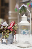 White Lantern and Christmas decoration pot Royalty Free Stock Photo