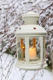 White lantern hanging on branch, winter scenery Stock Images