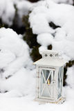 White lantern on snow ground Stock Photography