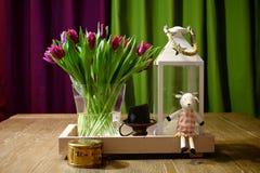 White lantern and tulips Stock Photo