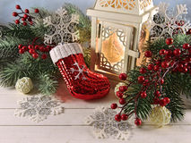 White Lantern With Traditional Christmas Decorations Royalty Free Stock Photo