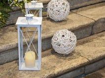 White lanterns on the pavement Royalty Free Stock Image