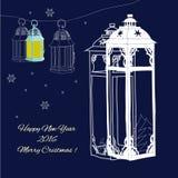 White lanterns with snowflake Stock Photos