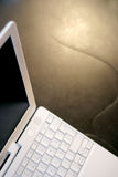 White laptop. Wide angle view Royalty Free Stock Photos