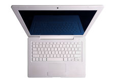 White laptop above. Isolated with clipping path. Royalty Free Stock Image