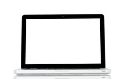 White Laptop with blank screen Stock Photo