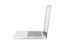White Laptop with blank screen isolated Royalty Free Stock Image
