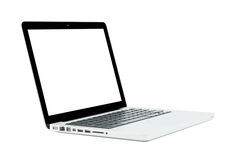 White Laptop with blank screen isolated Stock Images
