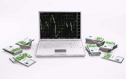 White laptop with chart and stacks of euros 3d. White laptop with forex chart and stacks of euros 3d Stock Illustration