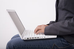 White laptop computer Royalty Free Stock Images