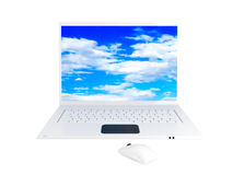 White laptop. Laptop computer with sky. This is a 3D rendered picture Royalty Free Stock Photos