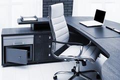 white laptop on desk royalty free stock photos