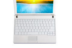 White laptop with empty keys Stock Images