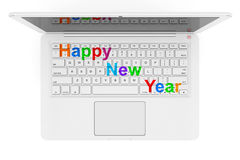 White Laptop with Happy New Year Sign. 3d Rendering Royalty Free Stock Image