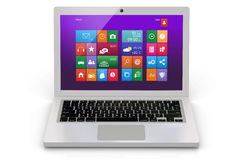 White laptop with interface Royalty Free Stock Photos