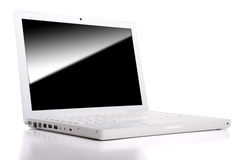 White laptop isolated with clipping path. Royalty Free Stock Photo
