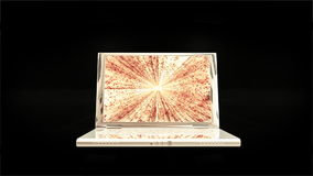 White laptop with Matrix on display, zoom in, Alpha, stock footage stock video