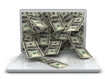 White laptop and money Royalty Free Stock Image