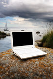White laptop in the natur Stock Photos