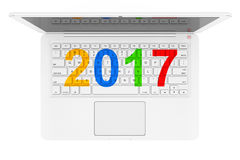 White Laptop with 2017 New Year Sign. 3d Rendering. White Laptop with 2017 New Year Sign on a white background. 3d Rendering Stock Illustration