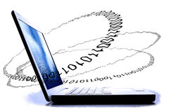 White laptop side view with binary code. Royalty Free Stock Images