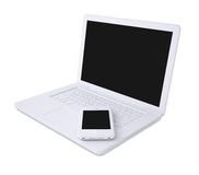White laptop and smartphone Royalty Free Stock Photo
