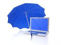 White Laptop Under Blue Umbrella Royalty Free Stock Image