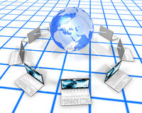 White Laptops On grid Floor. 3d image of laptops around a blue globe Royalty Free Stock Photos