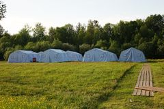 White large army tents. rescue camp. Military base royalty free stock images