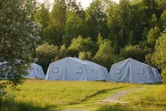 White large army tents. rescue camp. Military base royalty free stock photos