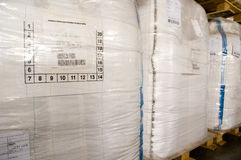 White large containers for bulk material on pallets Stock Photography