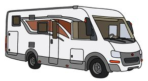 The white large motor home. The vectorized hand drawing of a modern large motor home royalty free illustration