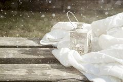 White latern on the bench Royalty Free Stock Photography