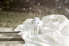 White latern on the bench Royalty Free Stock Photos