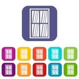 White latticed rectangle window icons set flat Stock Photo