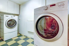 White laundry room royalty free stock images