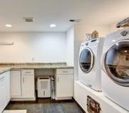 White laundry room interior Royalty Free Stock Photos