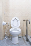 White lavatory with hand rail Royalty Free Stock Photos