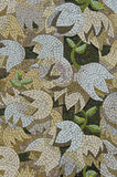 White and Lavendar Flower Mosaic. White, lavendar and cream flower design in antique mosaic of colored stone pieces Stock Image