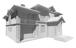 White layout of the cottage, private house Royalty Free Stock Photography