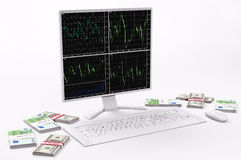 White LCD,keyboard,mouse, dollars and euros 3d Royalty Free Stock Image