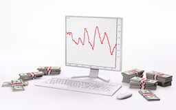 White LCD,keyboard,mouse and stacks of dollars 3d. White LCD with forex charts, keyboard,mouse and stacks of dollars 3d Royalty Free Stock Image