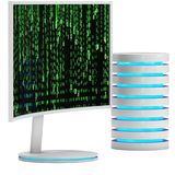 White LCD tv screen with server hard disk Royalty Free Stock Images