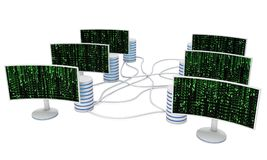 White LCD tv screens with server hard disks Royalty Free Stock Photos