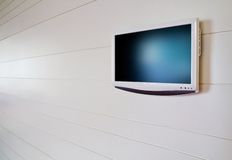 White LCD on white wall. Perspective Royalty Free Stock Photography