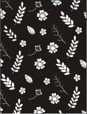 White leaf vector seamless pattern. Cute leaves on dark background vector illustration